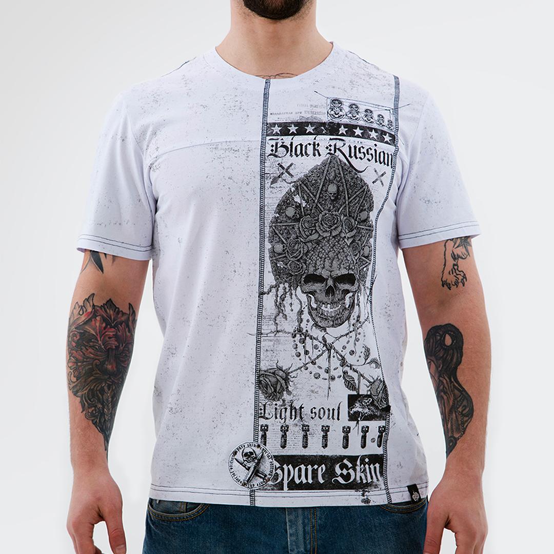 крутая футболка с черепом в кокошнике