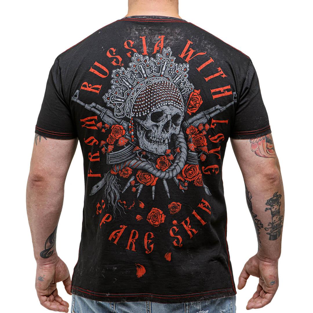 футболка из россии с любовью, с черепом